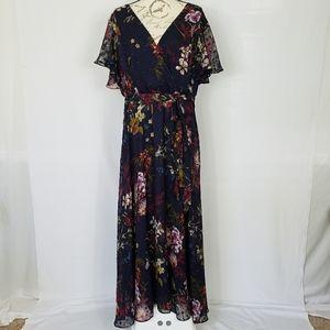 Lane Bryant Navy Floral Maxi Dress- V-Neck -  20